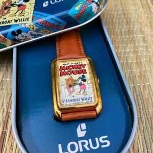 Vtg Lorus Mickey Mouse Steamboat Willie Watch